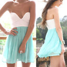 UK 10 WOMEN V NECK SPLICING COCKTAIL FORMAL BRIDESMAID PARTY BEACH MINI DRESS