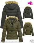 NEW WOMENS QUILTED COAT PUFFER FUR HOODED LADIES JACKET PARKA SIZE 8 10 12 14 16