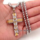 MEN'S Silver Gold Clear CZs CROSS Stainless Steel Pendant Box Chain Necklace set