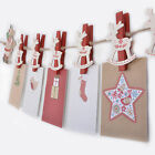 Novelty Christmas Card Holder Garland With Reindeer Shaped Festive Wooden Pegs