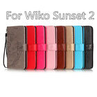 Fashion Flower Pattern For Wiko Sunset 2 Have Bracket PU Leather Phone Cover