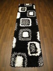 Large Modern Shaggy SALE Top Quality Woven Runner 60x220cm (App 7x2) Black/White