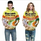 Fall Ramen Noodle Soup Chicken Foods 3D Digital Image Men Pullover Hoodies Coat