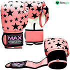 Ladies Boxing Gloves Punching Bag Mitts MMA Muay thai Training Sparring Pink