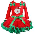 Xmas Red Green Pettiskirt & Bling Santa Red Long Sleeve Tee Outfit