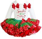 Xmas Red Green Polka Dots Satin Trimmed Tutu & Sparkle All The Way Outfit