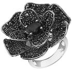 Sterling Silver Large FLower Rose Ring With Round Pave Set Black Onyx CZ 3-11