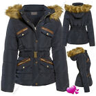 Size 8 10 12 14 16 Womens QUILTED Ladies Fur JACKET COAT PADDED QUILTED PARKA