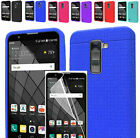 Film LCD+Rugged Silicone Rubber Slim Case Cover For LG Stylo 2 Plus MS550 / K550