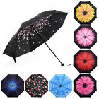 colored umbrellas - 50+ Anti-UV Sun Rain Protection Windproof Flower Parasols 3 Folding Umbrella