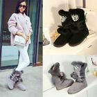 Fashion Women's Rhinestones Flat Furry Boots Lace Up Winter Snow Mid Calf Shoes
