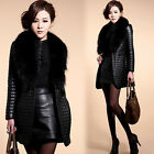 New Women Winter Faux Fur Collar Coat Leather Jacket Overcoat Outwear Clothes