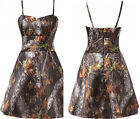 2018 Short Camo Wedding Dresses A-Line Spaghetti Straps Camouflage Bridal Gowns