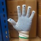 10 PAIRS OF WHITE NYLON POLKA DOT WORK GLOVES SAFETY GRIP QUALITY PICKER PACKER