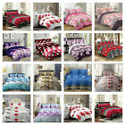 3D Effect Floral Duvet Quilt Cover Bedding Set with Fitted sheet & Pillow Cases
