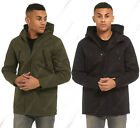 NEW Men Outwear Parka Coat Mid Jacket Hooded Mac Overcoat Black Size S M L XL