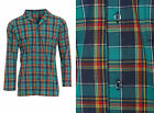 Mens Nightshirt 100% Cotton Check Tartan Night Shirt Green NavyBlue Red S M L XL