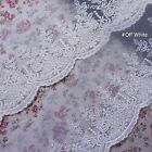 """Lovely  Embroidery Tulle Lace Trim Floral DIY Sewing 3.5""""(9cm) Wide Ivory 1Yd"""