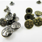 DECORATIVE SINGLE CAP RIVETS STUDS WITH STAR DESIGN 8 X 6mm LEATHERCRAFT