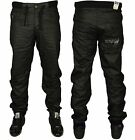 MENS NEW ENZO CUFFED JOGGER STYLE JEANS DESIGNER BLACK COATED PANTS 28 - 46