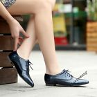 Womens Retro Fashion Brogue Flat Heel Lace Up Pointy Toe Casual Shoes Size Black