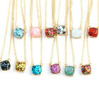 14 Colors Female Rainbow Glitter Gold Small Square Studs Choker Necklace Party