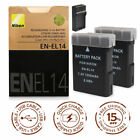 EN-EL14 Battery/Charger for Nikon D3100/3200/3300/5100/5200/5300 P7000/7100/7800