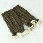 Womens Crochet Knit Lace Trim Leg Warmers Cuffs Toppers Boot Socks Stocking 20cm