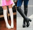 Womens Fashion Winter over Knee Thigh Boot chunky high heel platofrm pull on sz