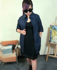 Dark Blue Comfortable Cotton Long Sleeve Large Size Women's Shirt/Dress #