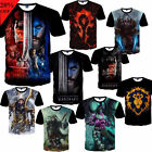 Men Fashion Short Sleeve T-Shirt Cool T Shirts Tees 3D World of Warcraft Top GH