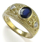 Men's 18k Gold Natural White and Blue Ceylon Sapphire Ring  Size 6 to 14 #R1346