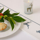 Luxurious Designer Christmas Table Runner UK Cotton Choice Of Lengths Grey Stag