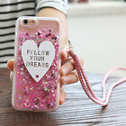 Luxury Bling Dynamic Liquid Love Hearts Glitter Soft Clear Case Cover with Strap