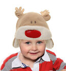 BABY BABIES XMAS REINDEER HAT SOFT WARM RUDOLPH RED NOSE DEER NEW 44 46 48 50 CM