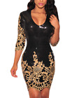 Women Sequins Bodycon Dress Sleeves Party Above Knee Mini Dresses Club Dancewear