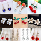 Elegant Pearl Crystal Rhinestone Silver Plated Ear Stud Earrings Women Jewellery