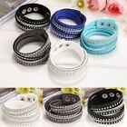 Crystals 2wrap Around PU Leather Adjustable Bracelet Fashion US Hot Sale