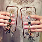 Luxury Bling Diamond Chain Holder Strap Rugged Grid Case Cover for Cell Phones