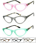 1 or 3 Pair Retro Woman Cat Eye Full Lens Reading Glasses Readers SpringTemples