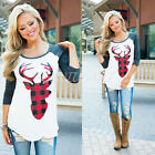 Christmas Fashion Women T-Shirt Long Sleeve Deer Print Xmas Blouse Tops Pullover