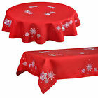 "Red Snowflake Pattern Tablecloth Festive Xmas Decoration Rectangle 52"" x 70"""