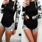 Women Fashion Long Sleeve O-neck Camouflage Sleeve Splicing Slim Casual T-shirt*