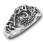 New Celtic Knot Stainless Steel Textured Dragon Ring  - Sizes 6-13