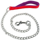 Didog Chain Dog Leash Silver Hook Red Nylon Handle for Daily Walking Beagle