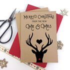 6/10 Luxury personalised kraft christmas cards MR MRS REINDEER STAG envelopes