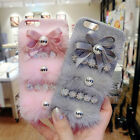 3D Warm Love Bowknot Flowers Furry Fluffy Hard Case Cover for iPhone 6/6S/7 Plus
