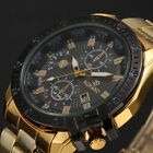 Jewelry Watches - Luxury Mens Black Dial Gold Stainless Steel Date Quartz Analog Sport Wrist Watch