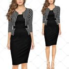 Women Vintage Cocktail Evening Party Formal Business Work Check Pencil Dress