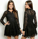 LBD Black Darling Floral Midriff Solid Skater button PARTY Sheer LACE mini Dress
